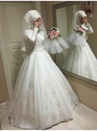 General Plus Ball-Gown Satin Princess Wedding Dresses With Long Sleeves
