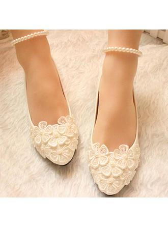 Femmes Bout fermé Escarpins Talon bas Similicuir avec Perle d'imitation Une fleur Dentelle Chaîne Chaussures de mariage