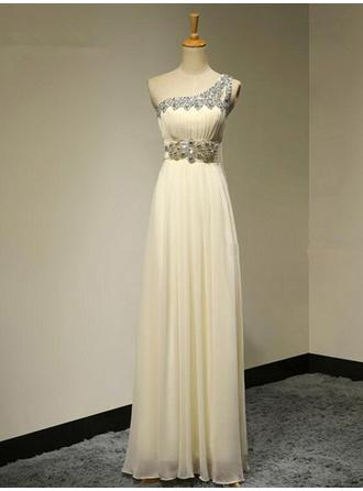 A-Line/Princess Chiffon Bridesmaid Dresses Beading One-Shoulder Sleeveless Floor-Length