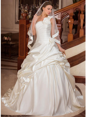 Ball-Gown Satin Sleeveless One Shoulder Court Train Wedding Dresses