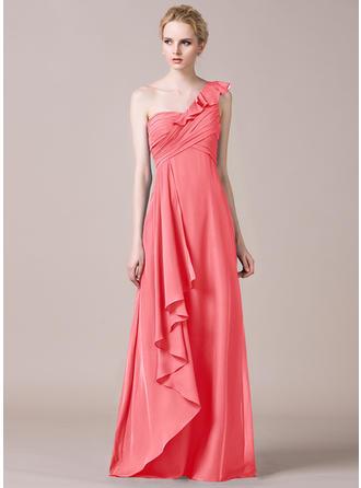 A-Line/Princess Chiffon Bridesmaid Dresses Cascading Ruffles One-Shoulder Sleeveless Floor-Length