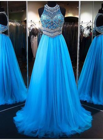 Tulle Sleeveless A-Line/Princess Prom Dresses Scoop Neck Beading Appliques Lace Sequins Sweep Train