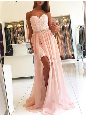 A-Line/Princess Sweetheart Chiffon Sleeveless Sweep Train Lace Evening Dresses