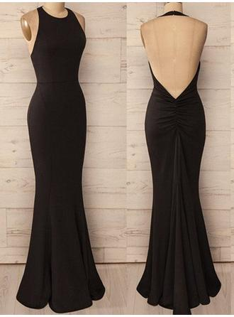 Trumpet/Mermaid Halter Jersey Sleeveless Floor-Length Ruffle Evening Dresses (017196707)