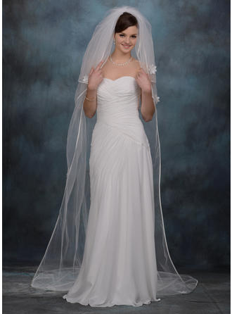 Three-tier Chapel Bridal Veils With Ribbon Edge