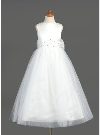 A-Line/Princess Scoop Neck Ankle-length With Beading/Bow(s)/V Back Organza/Satin/Tulle Flower Girl Dress