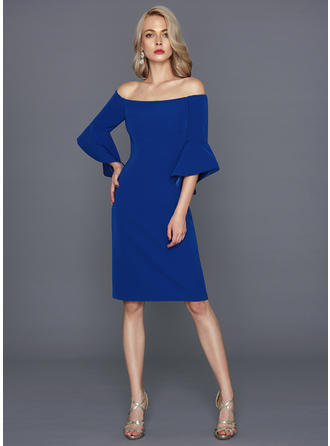 Sheath/Column Stretch Crepe Homecoming Dresses Off-the-Shoulder 1/2 Sleeves Knee-Length