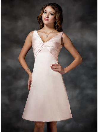 Satin Sleeveless Empire Bridesmaid Dresses V-neck Ruffle Knee-Length