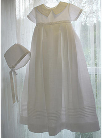 A-Line/Princess Peter Pan Collar Floor-length Satin Christening Gowns