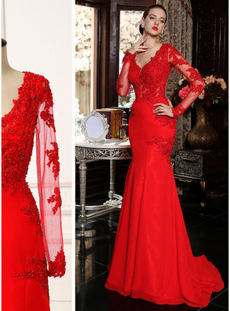 Trumpet/Mermaid V-neck Sweep Train Evening Dress With Beading