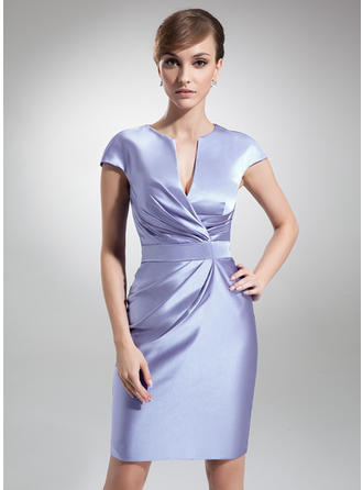 Magnificent Satin V-neck Sheath/Column Mother of the Bride Dresses