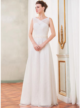 Gorgeous Floor-Length A-Line/Princess Wedding Dresses Sweetheart Tulle Lace Sleeveless