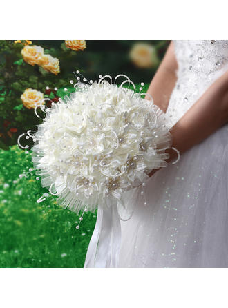 "Bridal Bouquets Round Wedding Satin/PE 11.02""(Approx.28cm) Wedding Flowers (123190450)"