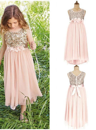 2018 New Scoop Neck A-Line/Princess Flower Girl Dresses Tea-length Tulle/Sequined Sleeveless