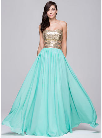 Chiffon Sequined Sleeveless A-Line/Princess Prom Dresses Sweetheart Beading Floor-Length