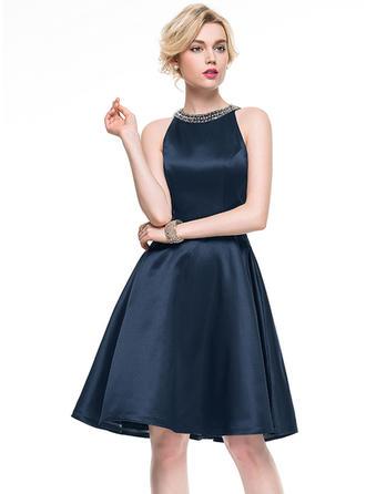 A-Line/Princess Satin Cocktail Dresses Beading Scoop Neck Sleeveless Knee-Length