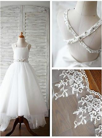 Straps A-Line/Princess Flower Girl Dresses Tulle Beading Sleeveless Sweep Train