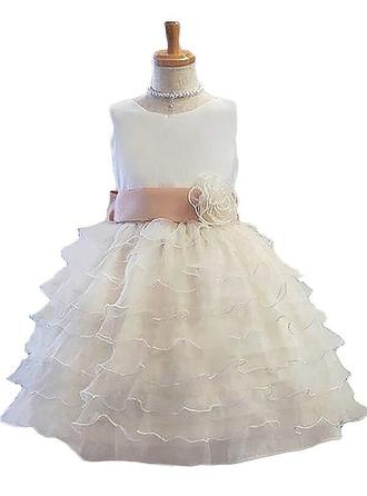 Scoop Neck Ball Gown Flower Girl Dresses Tulle Sash/Flower(s) Sleeveless Knee-length