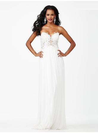 A-Line/Princess Sweetheart Floor-Length Evening Dresses With Lace