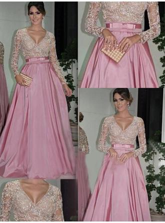 Taffeta Long Sleeves Ball-Gown Prom Dresses V-neck Lace Beading Floor-Length