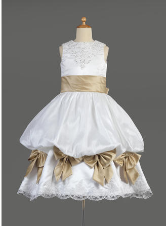 Empire Scoop Neck Tea-length With Ruffles/Lace/Sash/Beading/Bow(s)/Pick Up Skirt Satin Flower Girl Dress
