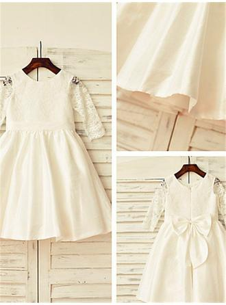 Scoop Neck A-Line/Princess Flower Girl Dresses Taffeta/Lace Bow(s)/Pleated Long Sleeves Tea-length