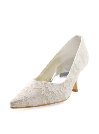 Women's Closed Toe Pumps Stiletto Heel Lace Satin Wedding Shoes