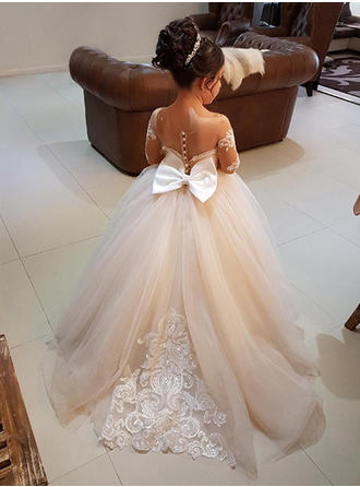 Ball Gown Scoop Neck Sweep Train With Bow(s) Tulle/Lace Flower Girl Dress (010146757)