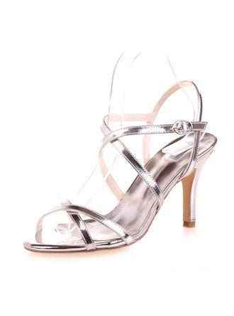 Frauen Peep-Toe Sandalen Stöckel Absatz Lackleder mit Schnalle Brautschuhe