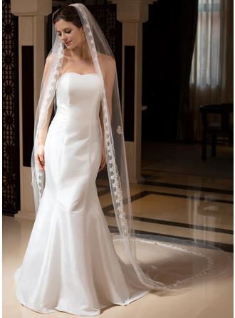 Cathedral Bridal Veils Tulle One-tier Drop Veil/Mantilla/Rectangular With Pencil Edge Wedding Veils
