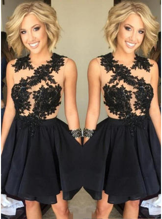 Luxurious Chiffon Homecoming Dresses A-Line/Princess Short/Mini Scoop Neck