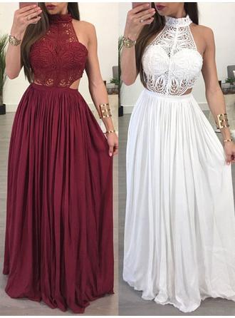 Elegant Chiffon Evening Dresses A-Line/Princess Floor-Length High Neck Sleeveless