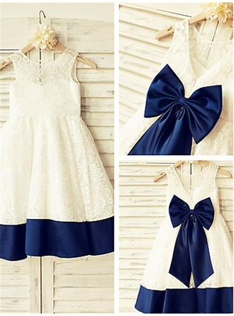 Scoop Neck A-Line/Princess Flower Girl Dresses Lace Bow(s) Sleeveless Knee-length