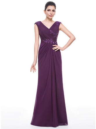 Trumpet/Mermaid V-neck Floor-Length Mother of the Bride Dresses With Ruffle Beading Appliques Lace Sequins
