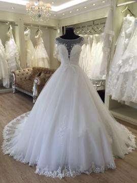 Ball-Gown Scoop Cathedral Train Wedding Dress With Sash Beading Appliques Lace