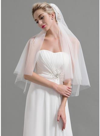Two-tier Cut Edge Elbow Bridal Veils With Applique