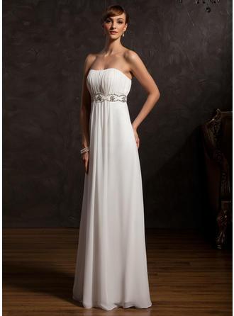 Empire-Linie Schatz Chiffon Ärmellos Bodenlang Rüschen Perlstickerei Kleider für die Brautmutter (008211384)