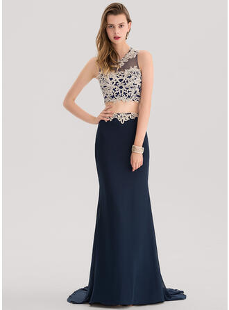Trumpet/Mermaid Scoop Neck Court Train Chiffon Prom Dresses With Lace