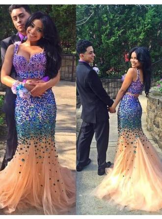 Trumpet/Mermaid Sweetheart Sweep Train Tulle Prom Dress With Beading