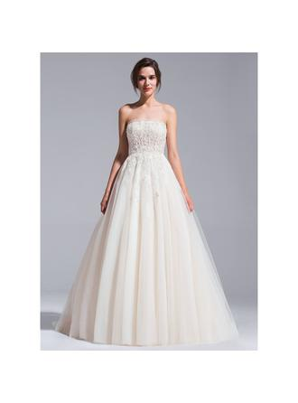 Strapless Ball-Gown Wedding Dresses Tulle Beading Appliques Lace Sequins Sleeveless Chapel Train