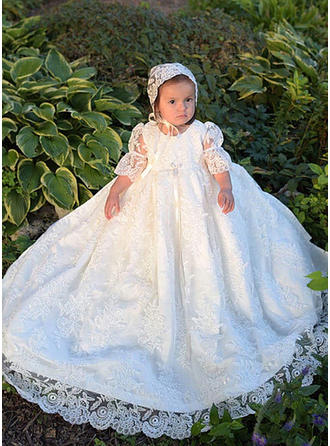 Scoop Neck A-Line/Princess Flower Girl Dresses Tulle/Lace Lace 3/4 Sleeves Ankle-length
