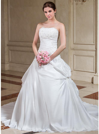 Magnificent Court Train A-Line/Princess Wedding Dresses Strapless Taffeta Sleeveless