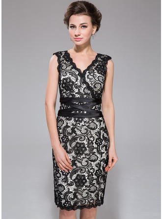 Sleeveless V-neck Stunning Charmeuse Lace Sheath/Column Cocktail Dresses