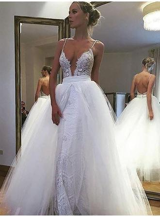 A-Line/Princess Deep V Neck Floor-Length Wedding Dress With Lace