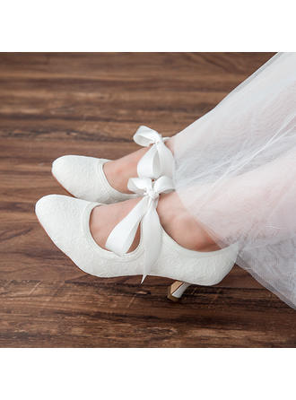 Women's Closed Toe Pumps Spool Heel Lace Satin With Bowknot Wedding Shoes
