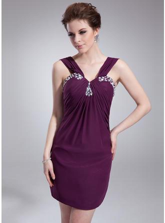 Sheath/Column V-neck Short/Mini Cocktail Dresses With Ruffle Beading