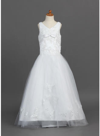 A-Line/Princess V-neck Floor-length With Lace/Bow(s) Satin/Tulle Flower Girl Dress