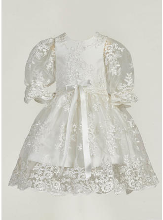 A-Line/Princess Scoop Neck Ankle-length Lace Christening Gowns