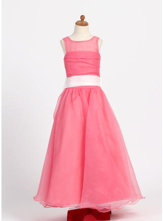 Floor-length Scoop Neck Taffeta/Organza Flower Girl Dresses With Ruffles/Sash/Bow(s)