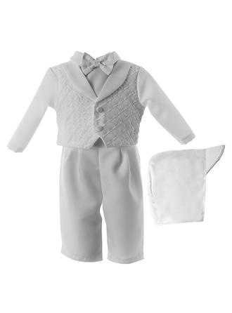 Satin Peter Pan Collar Bow(s) Baby Boy's Christening Outfits With Long Sleeves